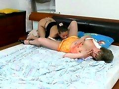 Raunchy milf exploring fresh body of a sleeping girl before hot dildo play