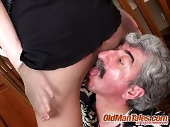 Delicious young babe sucks old wrinkled meat