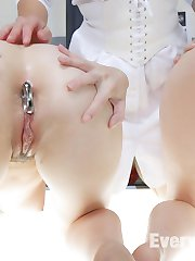 Rosie and Audrey Holiday are step sisters who need to see a doctor for birth control. The Doctor order the two slutty step sisters to do her bidding so that she doesn't have to tell their parents about why they are there to see her. Angel makes the step sisters sniff each others' assholes while they are pried open wide with a speculum. The girls take a deep slink into their freshly gaped asshole. Lots of Step sister ass to mouth followed by Anal Fisting and Anal Strap on for both of the red headed girls. Angel Allwood tops both these girls with her huge tits and ass bouncing