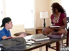 Hot Ebony Daya Knight Plows With Teenager