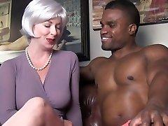 sexy cougar seduces black stud