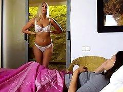 Lesbian teen mistress with meaty boobs