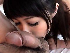 Oriental babe is having wild fun slurping a lusty jock