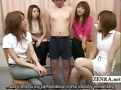Subtitled Japanese CFNM miniature ramrod examination party