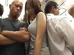 Sorprendente ragazza Asiatica con figa pelosa viene scopata in treno