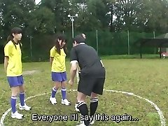 Subtitled ENF CMNF Japanese naturist soccer punishment game HD