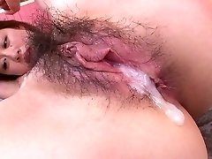 Pretty horn-uncontrollable Asian girlie with uber-cute knockers takes double penetration