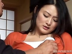 Housewife Risa Murakami toy poked and gives a suck off