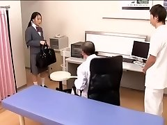 Medical scene of young na.ve Japanese hotty getting checked by 2 kinky doctors