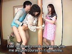 Subtitled Japanese risky fucky-fucky with voluptuous mummy in law