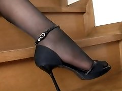 Japanese Woman Black Stockings