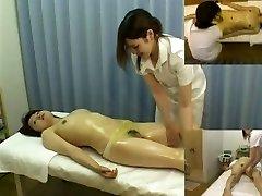 Massage hidden camera films a nymph giving handjob