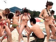 Outdoor beach sex with a molten group part2