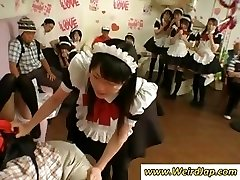 Petite Japanese maid gets penalized for being bad while all watch