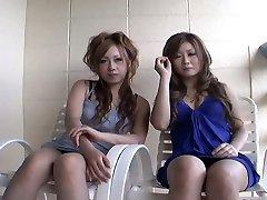 Two slutty Japanese dolls Yurina Shiho and Hibiki Mahiru gives a short dialogue before fucking one another