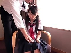 Tiny japanese schoolgirl humped by business man