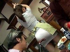 Mature screwing threesome with Mirei Kayama in a mini microskirt