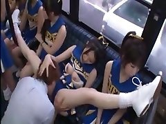 Horny Japanese cheerleaders in a red-hot group sex fuck for all