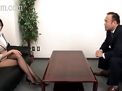 Japanese Pantyhose hottie with fat tits gets a cumshot
