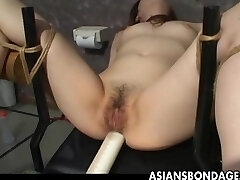 Asian slave tied up and toy nailed terrifically