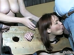 Awesome redhead is manhandled by two horny part6