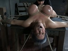 Hard tied busty honey Alyssa Lynn gets her cooter punished with vibrator