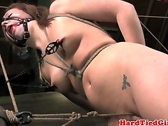 Crotch strapped nipple clamped sub punished