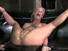 Powerfully tied blondie MILF with tight baps gets fucked by black freak hard