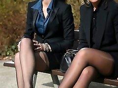 2 young sexy secretaries in vintage pantyhose & garterbelt