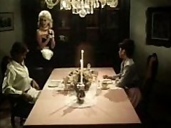Antique maid blows chisels under the table