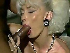Vintage Huge-boobed platinum platinum-blonde with 2 BBC facial