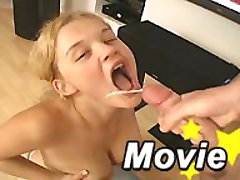 Cum loving blonde Christine Young eating a mega cock