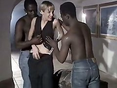Milky whore wife Rebeca gives eager blowjob to a duo of monstrous black dudes