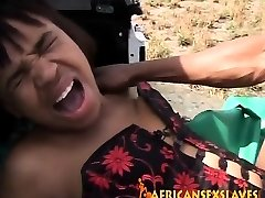 Rough outdoor plowing with a mischievous African slut and huge