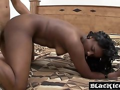 Super tight ebony stretched after being licked hard