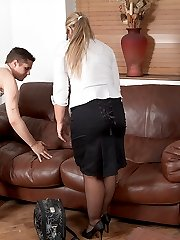 Shaved blonde fattie in business outfit got nailed during a sales demonstration