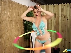 Busty MILF Penny L hula hooping downright bare