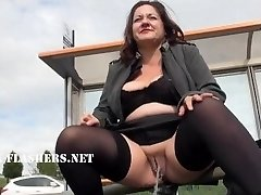 Chubby Andreas public nudity and kinky mum flashing outdoors with british