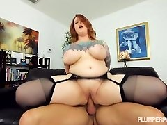 Sexy Tattooed Bbw MILF Gets Her Stockinged Feet Plowed