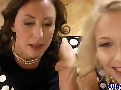Classy eurobabe shares dick with erotic cougar