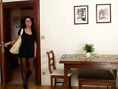 Warm chick got nylon pantyhose covered bumpers