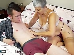Old lady Savana torn up by student Sam Bourne by AgedLove