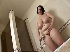 Massive tit BBW take a shower