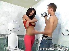 18yo teen Caprice fellating cock in the toilet room