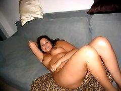 Naughty chubby honey strips and spreads