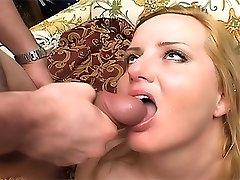 Cute blonde fatty rides dicks and sucks cocks having interracial group gangbang