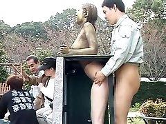 Costume Play Porn: Public Painted Statue Fuck part 4