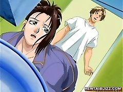 ژاپنی, کارتون, دختر مدرسه ای فشرده می شود و او گیره,
