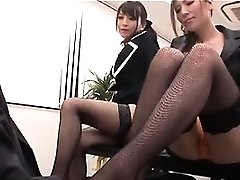 Asian sexy interns toying nasty mistresses with their boss