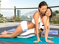 Yoga with two cuties